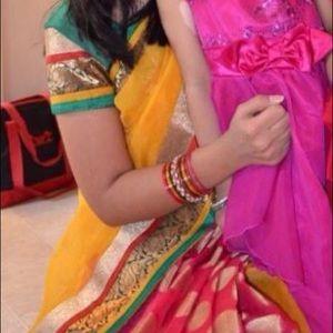 Magenta & Yellow Sari